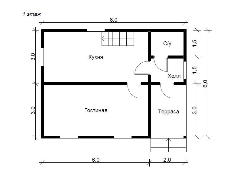 Проект дома 8х6 из бруса - андрей.