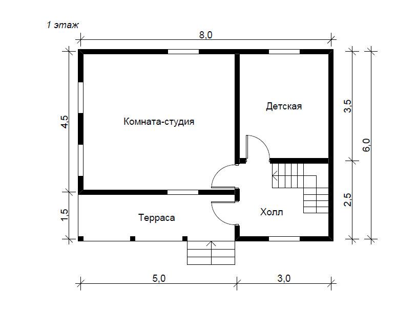 Планировка одноэтажного дома 6 на 8 фото 118